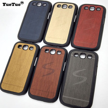 YueTuo original luxury hard case for samsung galaxy s3 s 3 i9300 mobile phone cover shell by wood back gold black wooden cases(China)