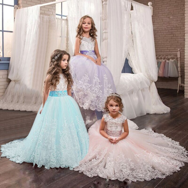 Kids Dresses For Girls Elegant Princess Wedding Lace Long Girl Dress Halloween Party Bridesmaids Formal Gown For Teenager XF44