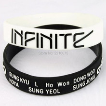 300pcs embossed white and black LOGO K-POP INFINITE wristband silicone bracelets free shipping by DHL express