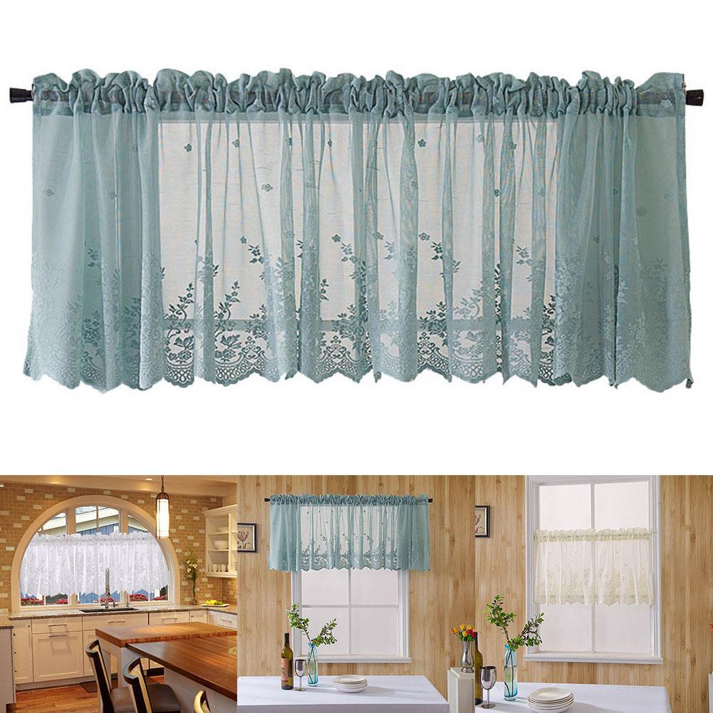3Pcs Solid Color Blackout Short Curtain Kitchen Drape Valance Panels Room Decor
