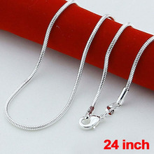 Fashion 925 Sterling Solid Silver lots 1mm Snake Chains Necklaces 24 inch NEW silver jewelry cheap necklaces