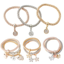 Fashion 3Pcs/set Gold Silver Rose Gold Three Colors Styles in One Bracelets Set Rhinestone Bangle Jewelry Best Gift For Women