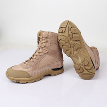 Spring autumn outdoor male hiking climbing breathable ankle shoes men ultralight leather high tube desert tactical mid calf boot
