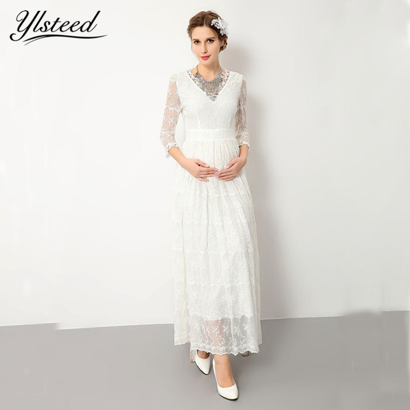 White Lace Maternity Dress for Photo Shoot Maternity Photography Props Sexy Maxi Dress Pregnancy Women Clothes<br>