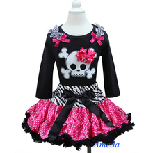 Halloween Zebra Pink Polka Dots Tutu Pettiskirt & Pirate Skull Black Long Sleeves Top 2pc Party Dress 1-7Y(Hong Kong)