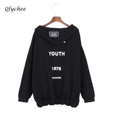 Qlychee Letter Print Autumn Winter Jacket Coat Outwear Women Long Sleeve Loose Hooded Basic Jacket Female Fleece Thick Coat(China)