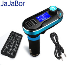 JaJaBor Bluetooth FM Transmitter Handsfree Car Kit Dual USB LCD Display Car Charger USB MP3 Microphone for IPhone Smarpthones