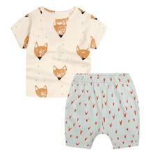 Summer Kids Cotton Fox Print Clothes Boys Children Clothing Set Brand Sport Suits for Boys Toddler Baby (Tshirts + Shorts)  Sets