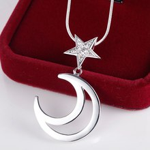 2016 Trandy CZ Nice  Necklace OL Style Star&Moon Pendant Ladies Fashion Accessory AN130