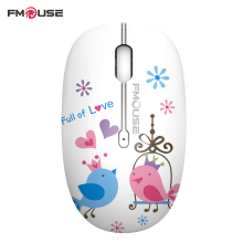 Original FMOUSE M101 Mouse 1600 DPI Lovely Girls Mute Wireless Mouse with Mouse Pad Optical Mouse For Cute You Laptop(China)