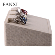 FANXI Free shipping custom light coffee linen jewellery exhibitor holder for jewelry shop and counter showcase earrings display(China)