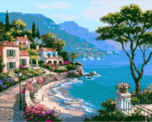 HOT! Frameless Pictures Painting By Numbers DIY Digital Canvas Oil Painting Landscape Mediterranean Home Decor 40x50cm G311