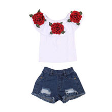 2017 New Fashion Children Girls Off shoulder Floral T-shirt Tops+Hole Denim Short Jean 2PCS Rose Flower Suit Clothing Set 1-6Y