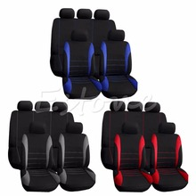 Buy 9PCS Universal Car Seat Covers Red Set Auto w/Steering Wheel/Belt Pad/Head Interior Decoration Protect for $22.89 in AliExpress store