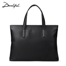 Deelfel Top Sell Fashion Simple Dot Famous Brand Business Men Briefcase Bag Casual Man Bag Leather Laptop Bag Shoulder Bags(China)