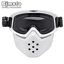 White Frame Detachable Mask Ski Goggles For Open Face Half Helmet Vintage Motorcycle Men Women Outdoor Cycling Motocross Goggles(China)