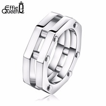 Effie Queen Fashion Octagon Rings Unique Nail Decorated Polygon Trendy Men Women Dtainless Steel Rings Jewelry Gift IR28(China)
