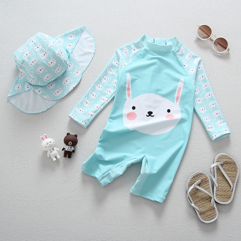 5Sets Wholesale Girl Cute Rabbit Blue Swimming Suits Children Swimming Clothes Children Beach Long Sleeve SwimwearSize 3T-8T