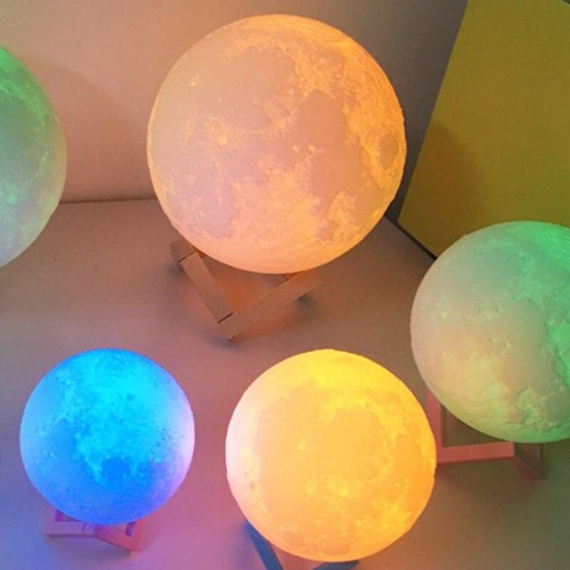 Colorful 3D Moon Night Light Desk Table Lamp Moonlight Lunar Flash Light USB Charge Decoration 18CM  Drop Shipping<br>