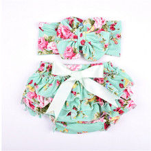 Floral baby bloomers diaper covers Cotton Baby gilrs diaper covers lace shorts ruffle panties baby bloomers Diapers Skirt shorts(China)