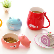 Creative Cute Mug Cat Ceramic Cup With Lid Funny Coffee Mugs Chinese Ceramic Tea Cups
