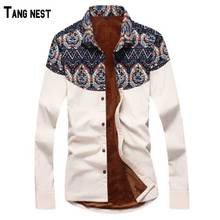 TANGNEST Men Thick Shirt 2017 New Arrival Men Fashion Print Slim Fit Warm Shirt Male Long Sleeve Floss Thick Shirt MCL1132