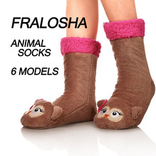 Buy FRALOSHA Dropshipping 3D animals Long floor Socks Home Slipper sock Women Winter Warm Fuzzy Anti-Skid Lined Indoor Floor Slipper for $12.94 in AliExpress store