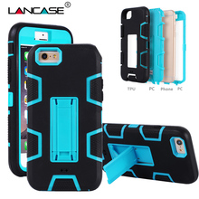 LANCASE Cover For iPhone 4s Case Silicone Rubber Shockproof Hard Hybrid Armor PC Case For iPhone 4s Cover Stand Holder