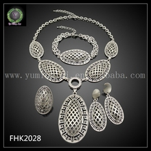 Christmas gift Free Shipping high quality Silver Color Plated Fashion African Jewelry Set FHK2028 wedding accessories(China)