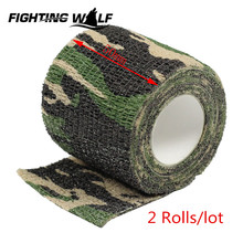 2 Rolls Woodland Camouflage Tape Waterproof Outdoor Hunting Camping Stealth Wrap Tape Best Choice for Flashlight Rifle Weapons