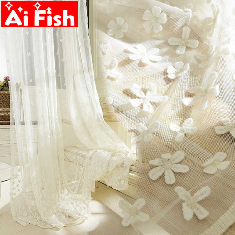 High Quality Relife Sculpture Dimensional Flowers Embossed Curtains Screen For Living Room White Embroidery Sheer Panels DF072#3