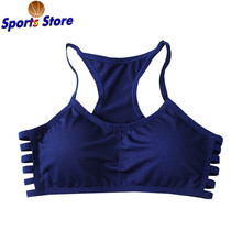 Sports Yoga Bra Brassiere Breathable Hollow Out Side Striped Bras Full Cup Racer Back Fitness Cotton Push Up Shaper