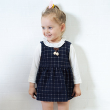 Toddler Promotion Rushed Cotton Full Coat little Girls Baby Autumn Clothing Set Fashion Plaid Dress Kids Clothes T-shirt+dress