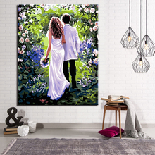Pictures DIY Oil Painting By Numbers Holding Hands Newlyweds Framework Wall Art Acrylic Handpainted Home Decor For Living Room(China)