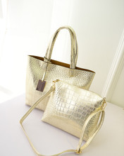 Fashion Chic Metal Color Women Leather Handbags Golden Shoulder Bags Fashion Lash Package Tote(China)