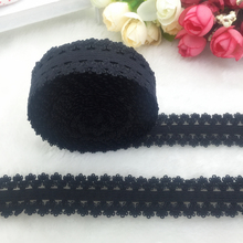 "5yards/lot 3/4"" 20mm Multirole Black Fold Over Elastic Spandex Lace Band Ties Hair Accessories Lace Trim Sewing Notion"