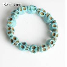 Kalliope Skull Bones Bracelet fine Semi-precious stones bracelets fashion unisex accessories jewelry birthday gift for party