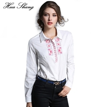 2017 Spring Autumn Women Blouse Long Sleeve Turn Down Collar Embroidery Flowers White Shirts Ladies Work Wear Office Shirts(China)
