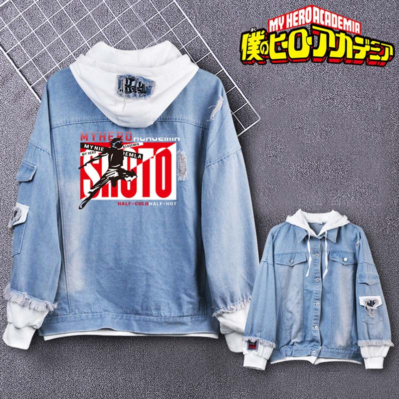 Coshome Boku No My Hero Academia Midoriya Shoto Todoroki Cosplay Hoodies Costumes Men Women Denim Jacket (9)
