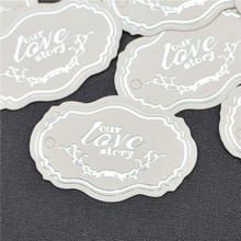 Simple English Silver Letter Patches Fashion European Candy Boxes Packaging Tag Wedding Cards 100pcs