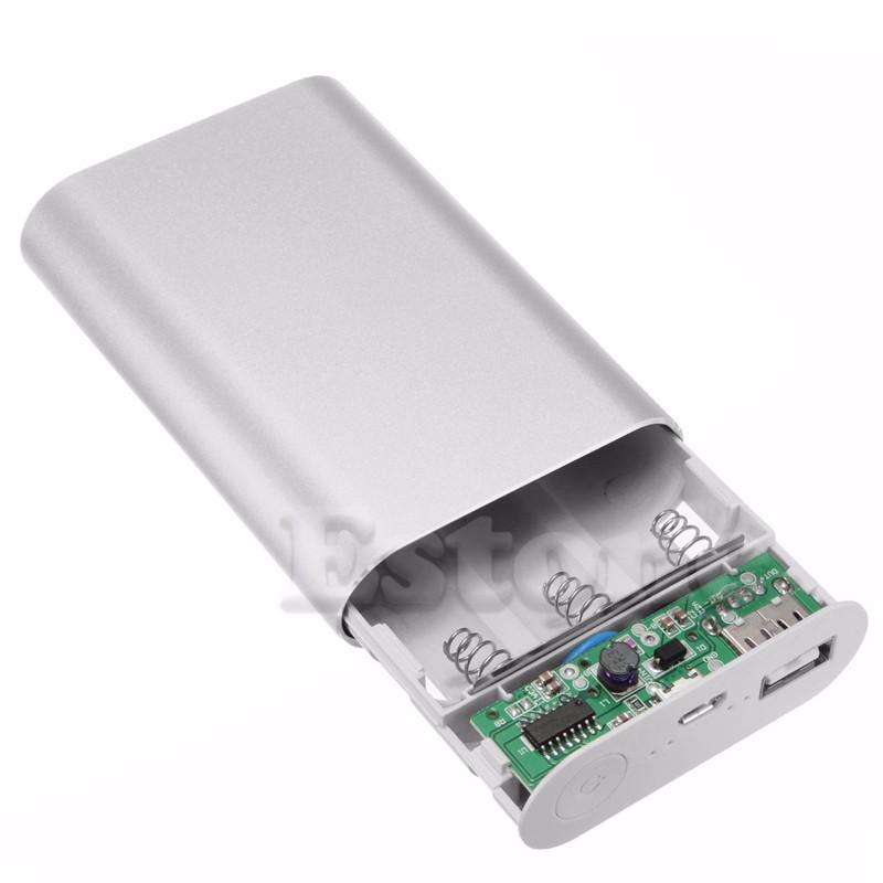 image for Portable 10000mAh Power Bank Aluminum Box Kit 3x18650 Battery Charger
