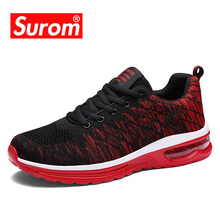 Surom 가 Shoes Men Air Cushion Shock 흡수 Mesh 숨 Men's Casual Shoes Lace Up 패션 Sneakers 남성 shoes 성인(China)