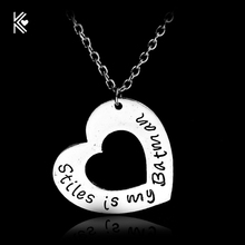 America Television Teen Wolf stiles is my batman Hollow Double Heart Vintage Pendant Necklace Hot Sale Women Chain Necklace