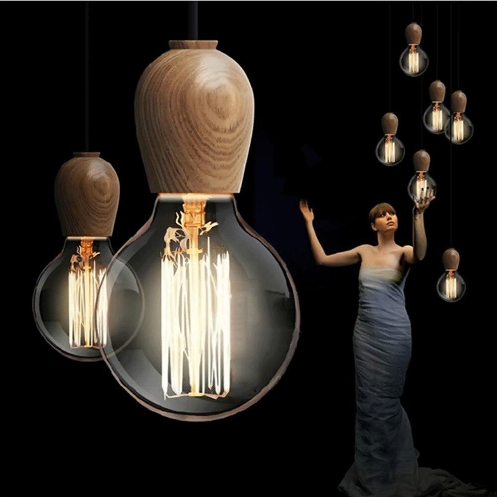 Modern Wood Pendant Lights Pendant Lamp Novelty Home Decorations Bedroom Hanging Lamps E27 Wooden Droplight Fixtures <br><br>Aliexpress
