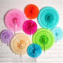 Cheap 16 Inch 40cm Hollow Out Paper Folding Fan For Wedding Tissue Paper Fans Flowers Birthday Party  Stage Decoration W