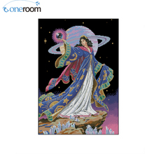 oneroom Beautiful Lovely Counted Cross Stitch Kit Alluring Sorceress Earth Universe Fairy at Night dim 72425 41X54CM, 14CT