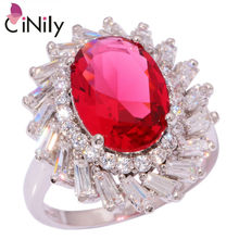 CiNily Created Kunzite White Zircon Cubic Zirconia Silver Plated Ring Wholesale Retail for Women Jewelry Ring Size 8.5 NJ10146