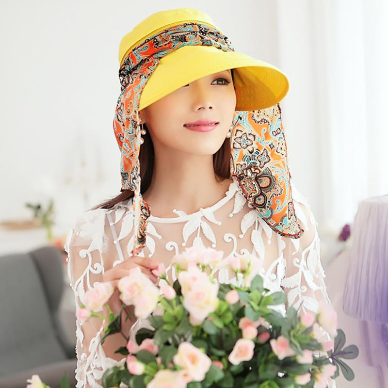 NEW Fashion Women Summer Outdoor Riding Anti-UV Sun Hat Beach Foldable Sunscreen Floral Print Caps Neck Face Wide Brim Hat(China)