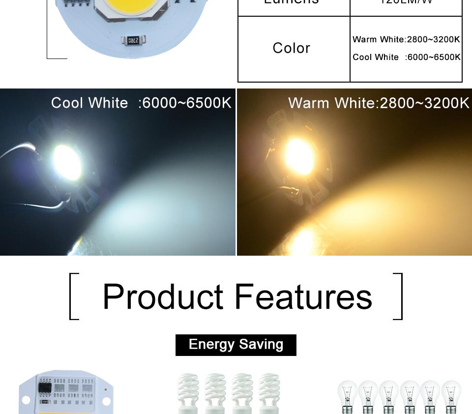 led cob lamp bulb white warm white 220v 110V with smart ic driver (5)