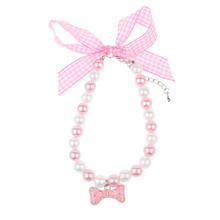 1 PC Hot Bone Pendant White Pink Faux Pearl Cute Collar For Pet Dog Cat